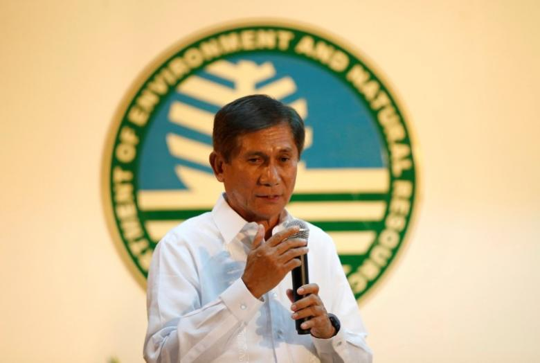 Newly appointed Environment Minister Roy Cimatu speaks during a turn over ceremony at the Department of Environment in Quezon City Metro Manila