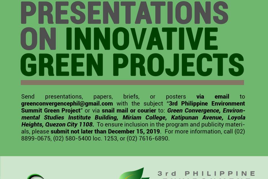 CALL FOR PRESENTATIONS ON INNOVATIVE GREEN PROJECTS: