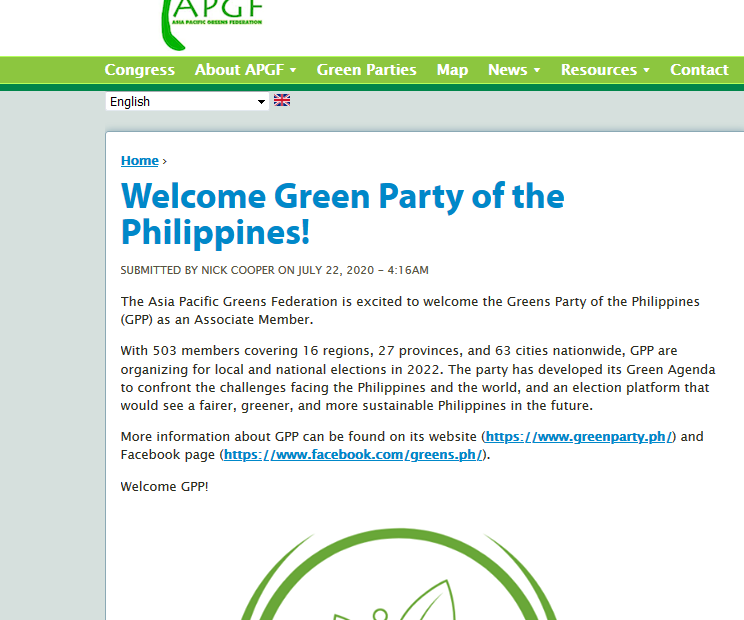 Asia Pacific Greens recognizes Green Party of the Philippines (GPP-KALIKASAN MUNA)